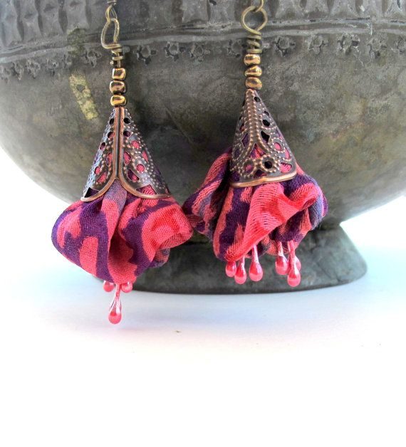 Summer statement Fuchsia blossom silk  earrings by Gilgulim, $14.80