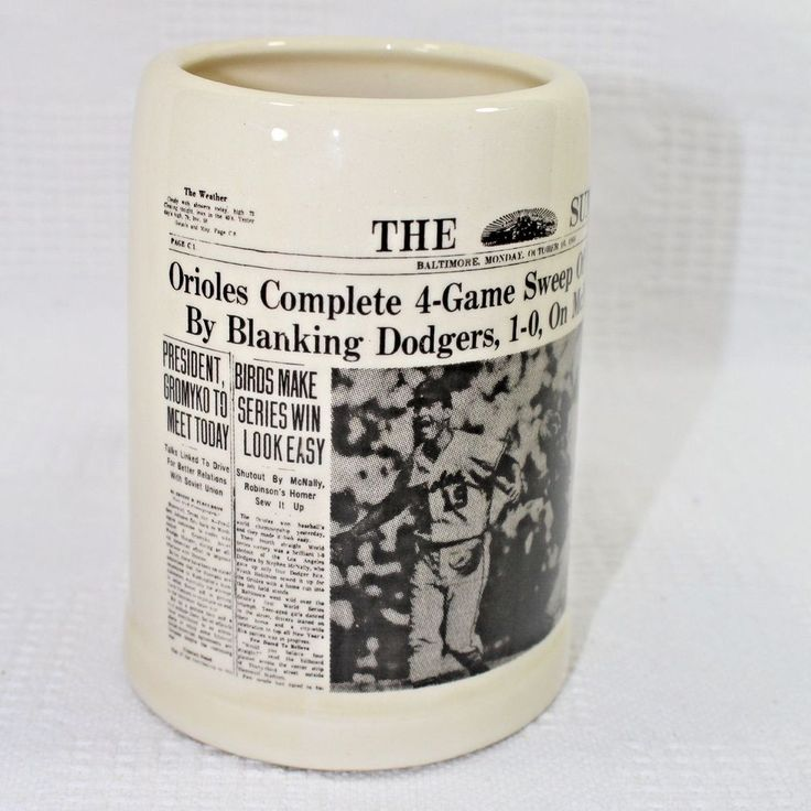 1966 The Sun Newspaper Baltimore Orioles World Series Win Souvenir Stein #BaltimoreOrioles