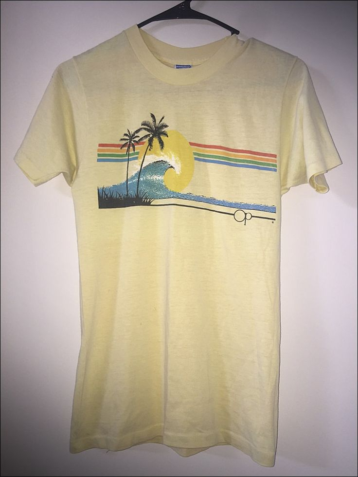 Vintage 80's OP Ocean Pacific Surfing Shirt Tee - Size Medium by RackRaidersVtg on Etsy