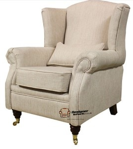 Ashley Fireside High Back Wing Easy Chair Armchair Zoe Plain Biscuit Fabric