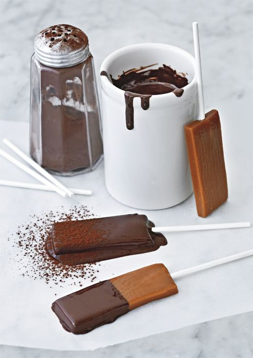 """The real caramel lollipop recipe from a famous Paris candy shop. Basically, a recipe for a Sugar Mama """"chocolatey covered"""" confection which hasn't been made since the 80's."""