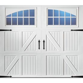 Pella Carriage House Series 96-in x 84-in White Single Garage Door with Windows