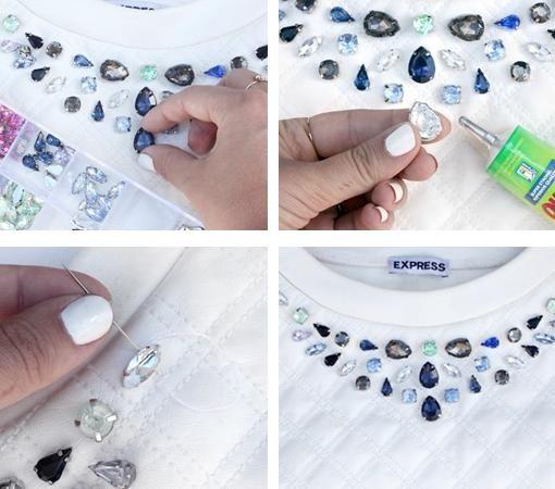 Customizar ropa con pedrería está de moda. Recicla tu ropa con este tutorial e ideas DIY, tú misma podrás pegar y coser piedras para reciclar tu vieja ropa y accesorios.