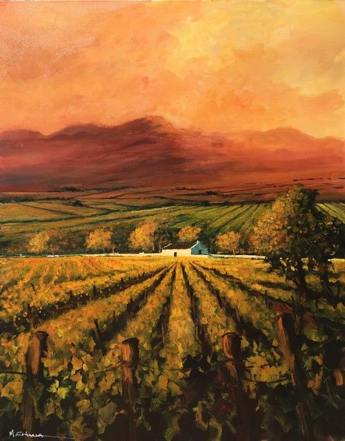 Autumn Vineyards at Sunset by Mauro Chiarla | Landscape Artwork | Fine Art Portfolio