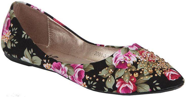 Туфли балетки в цветочек