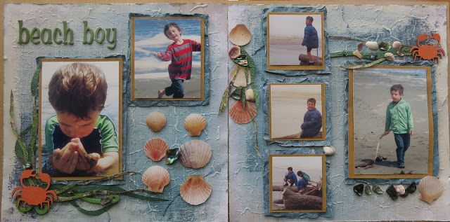 Seaside layout.  Sketch challenge from http://letsscrapsketches.blogspot.co.nz/