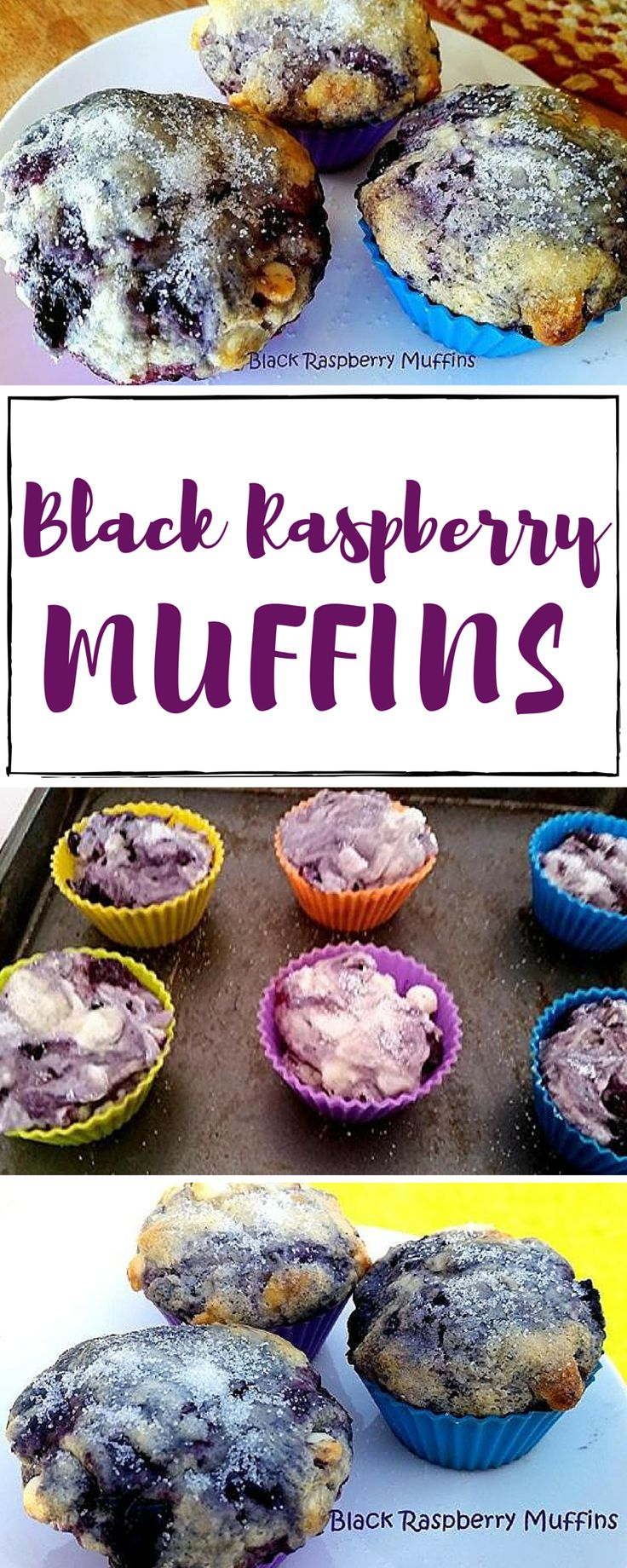 Black Raspberries remind me of growing up and spending so much time with Gram... picking the berries, then she'd bake pies. I just happened to have a bag in my freezer and thought using them in muffins sounded so good and they were. My family loved them.