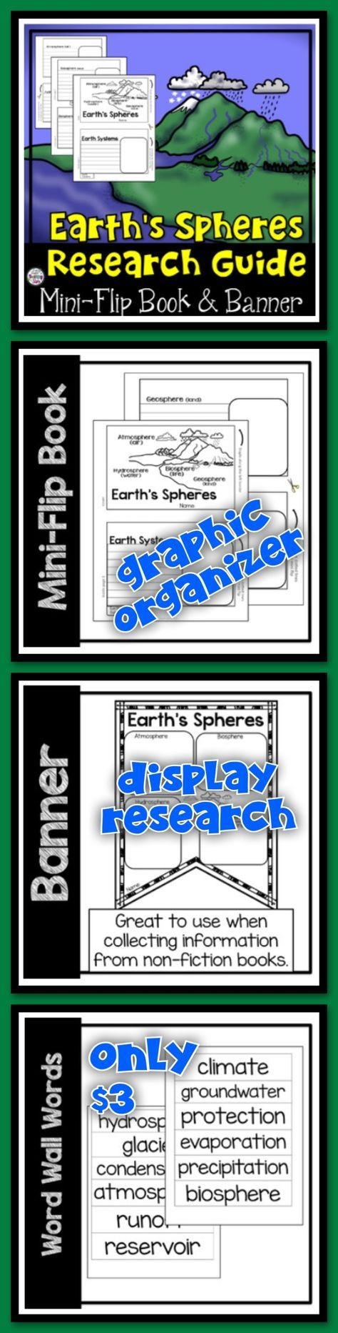 Earth's Spheres Research Flip-Book and Banner will provide a graphic organizer students can use while researching about the Earth's Spheres. Students will collect information on hydrosphere, atmosphere, biosphere, and geosphere in their flip books. Students can also display their research on a Earth's Spheres banner. Word Wall Words are also included. These resources were designed for grades 4th-6th to use to organize students' research about The Earth's Spheres.