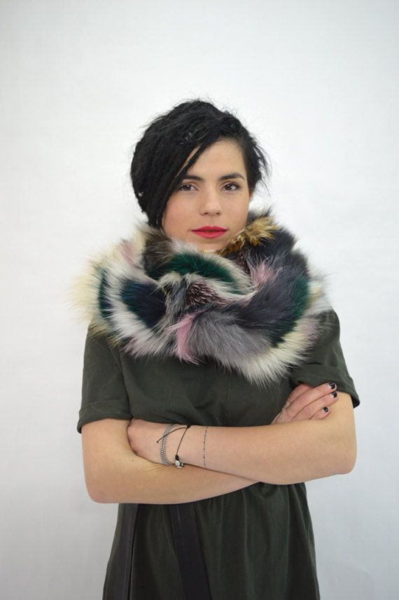 Real fur scarf fox fur scarf multicolour fox fur scarf by BeFur