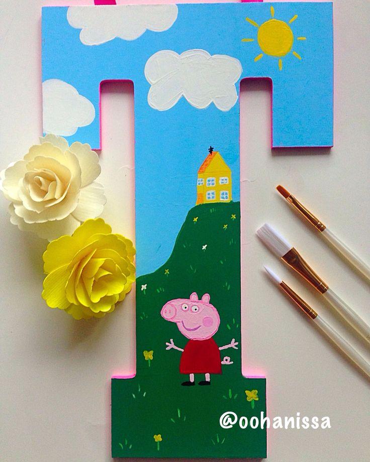 Custom painted letters : Peppa Pig by oohanissa.com   #decor #nursery…