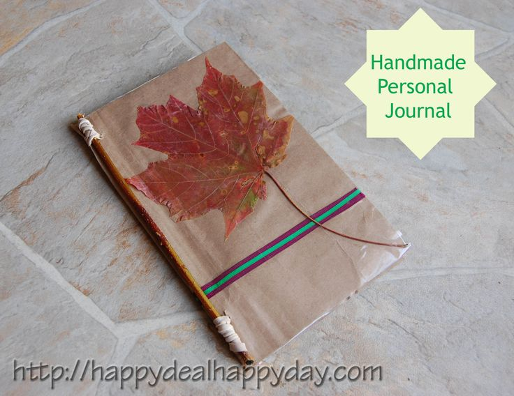 Instructions on how to make a handmade journal - Use for personal use.  Give as a gift!  Turn it into a nature journal or leaf collection for the kiddos!  http://happydealhappyday.com/handmade-personal-journal-free-paper-staples-this/