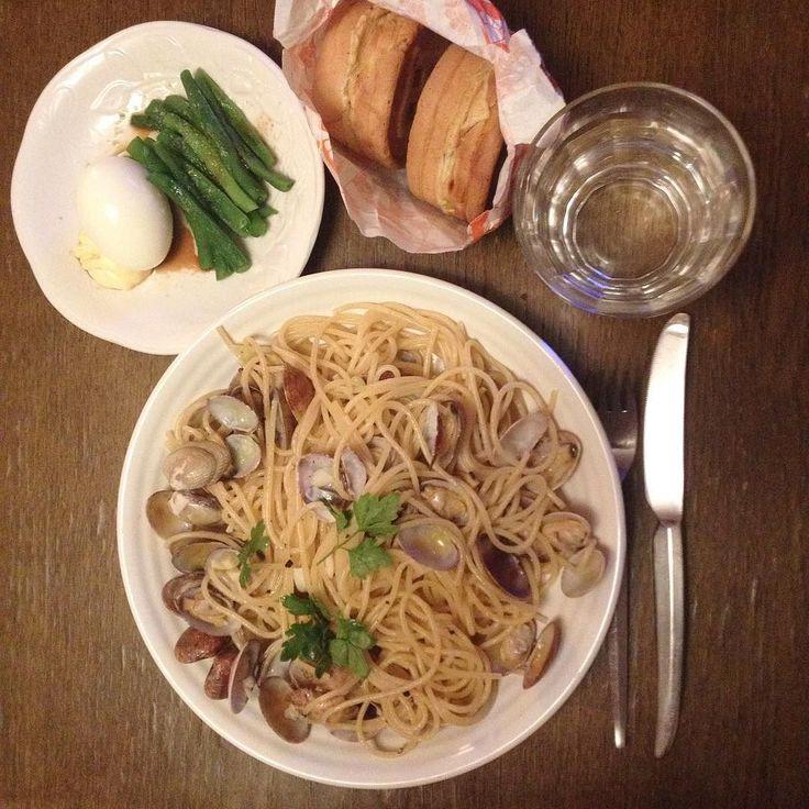 あ今川焼買ってアサリのスパゲティ作ったいんげんとゆで卵も柔らかいものだけ口の中痛いから Spaghtti alle vongole fagiolini e uova bolliti e dolce come dorayaki  #keikoswashoku #keikomme #foodie #delicious #yummy #foodporn #italia #cucina #dinner #ケイコ飯 #晩飯 #夕飯 #ヘルシー #イタリア #料理 #美味しい #FB #pin