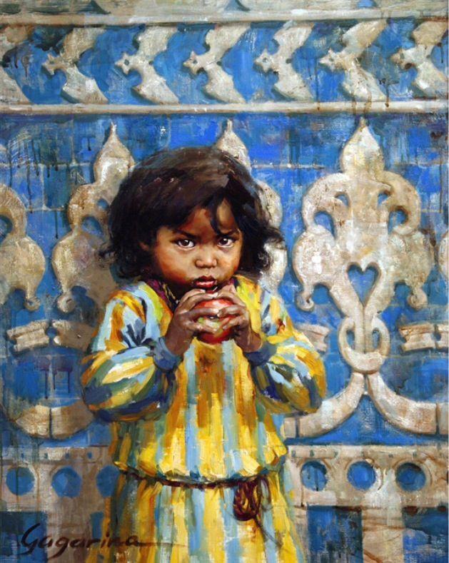 "irina gagarina "" apple"" oil painting , children portret."