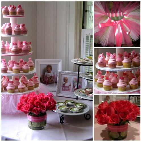 Pretty in Pink (& Green) Party.: Birthday Parties, 1St Birthday, Green Parties, Parties Ideas, Pink Cupcakes, Pink Rose, Parties Inspiration, Birthday Ideas, Baby Shower