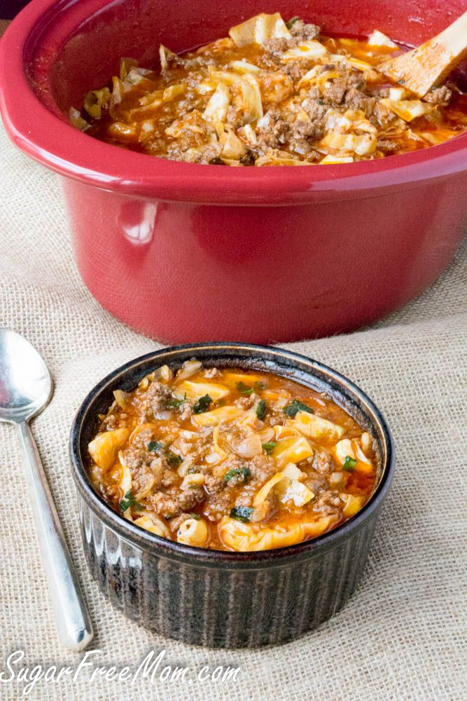 <em> Crock Pot Un-Stuffed Cabbage Roll Soup is a comforting, hearty, but low carb meal you can make any weeknight! </em>   Are you a cabbage fan? Even if you aren't, this recipe might just win you over. One of the most comforting meals on a cold winter's day made in your crock pot or just simmer on the stove, but either way it's a hearty meal for the whole family.   Did you make any New Year's Resolutions?...