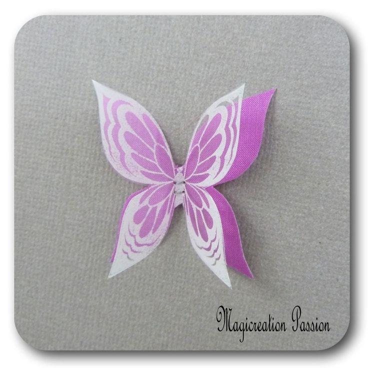 doubles ailes de papillon 3.5 cm soie fuchsia transparent motifs blancs - Ysatis : Décoration d'intérieur par les-tiroirs-de-magicreation-passion