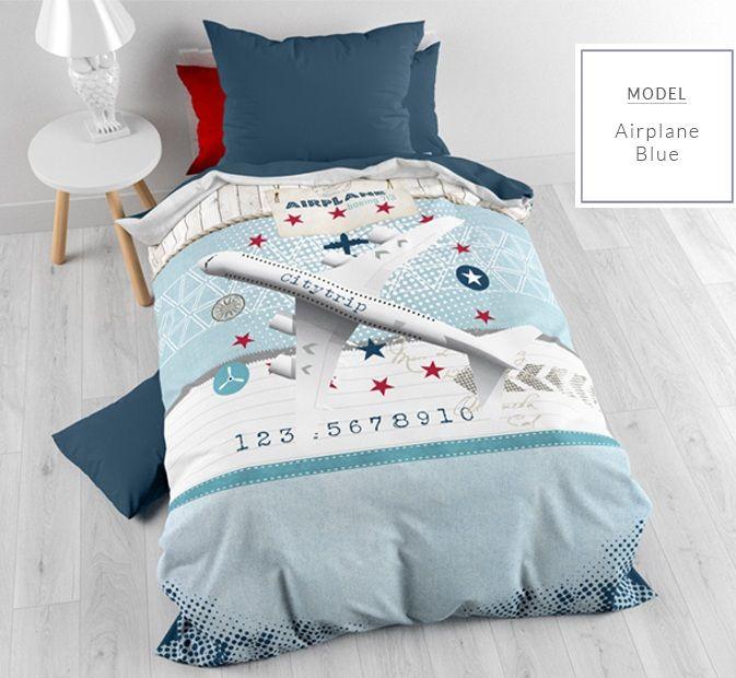 Farebné detské posteľné obliečky s motívom lietadla