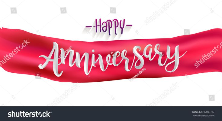 Happy Anniversary Calligraphy with Realistic Red Ribbon Background. Elegant Holiday Red Vector Lettering Happy Anniversary Poster.