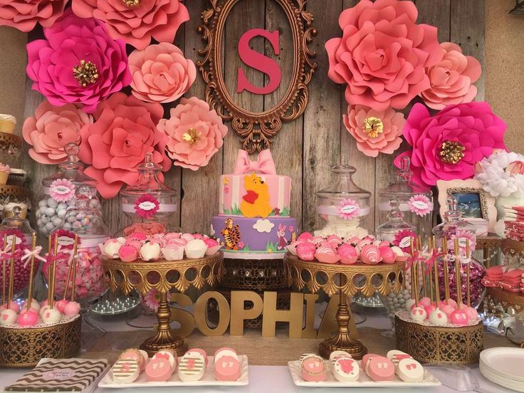Floral Baby Shower Candy Buffet | CatchMyParty.com