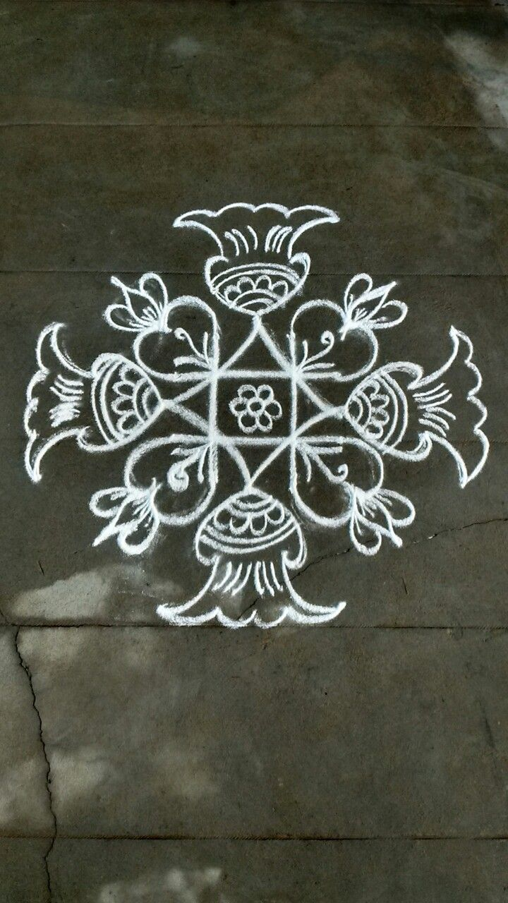 119 best simple kolam images on pinterest rangoli for Floor rangoli design