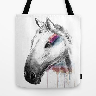 Rainbow Horse Tote Bag by clickybird - Belinda Gillies - $22.00