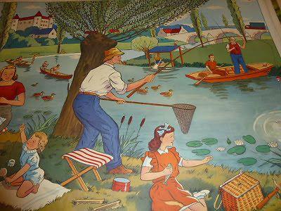 Ancienne affiche scolaire Rossignol 1960 Pic nic La pêche La rivière Printemps