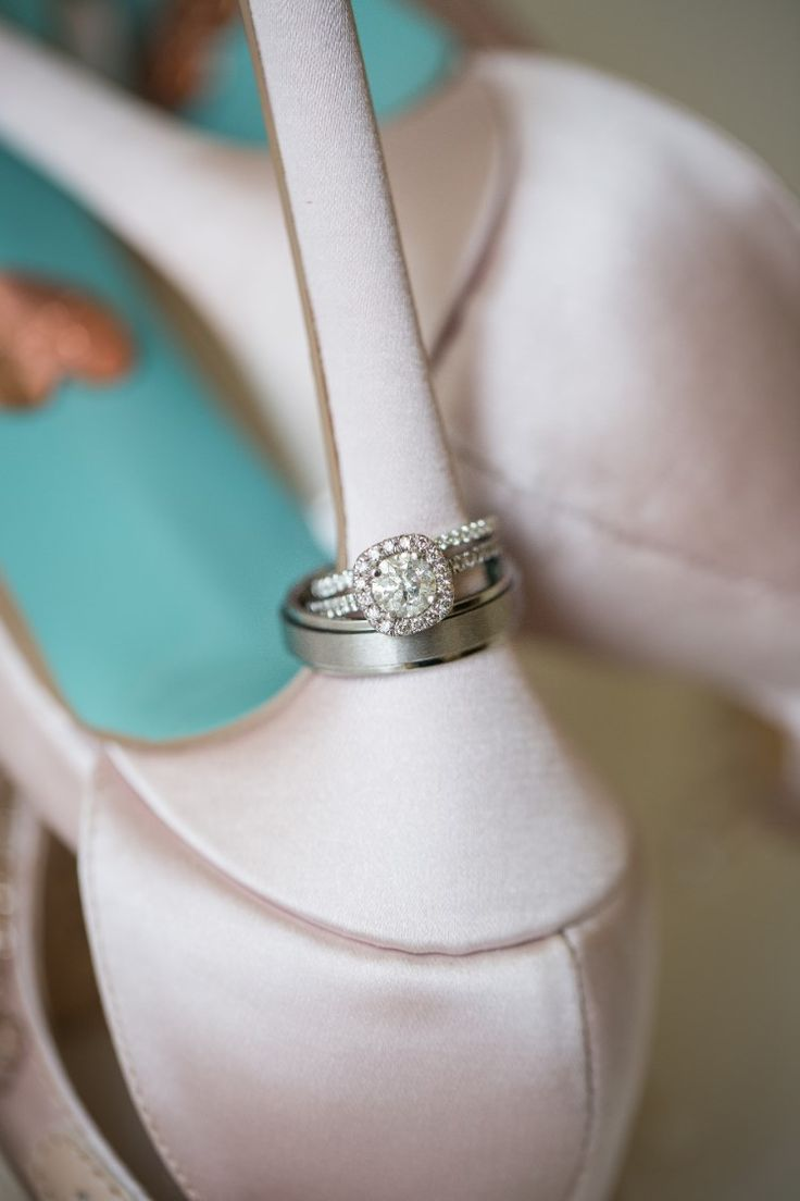 Stunning Coral Gables Wedding at The Biltmore Hotel, FL  The bride and grooms' wedding rings on beautiful plush pink heels!   Photography: Snap Photography and Design