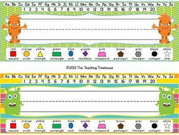 These adorable desk name plates will go great with any monster theme classroom décor! With 34 different designs, each of your students can have a unique name plate! Each name plate includes upper and lowercase letters, numbers 1-20, and 11 shapes and colors. This zip file comes with 3 options for adding students' names. $