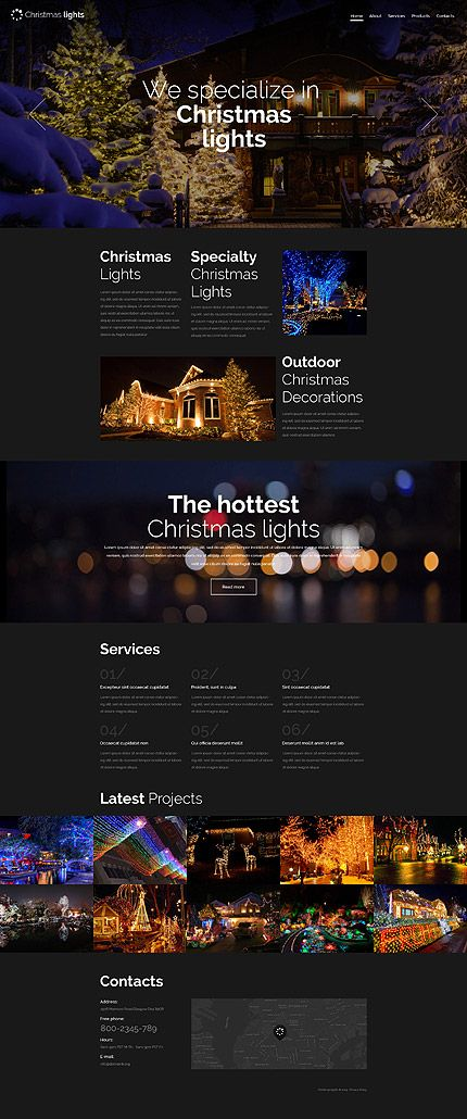 Template 57945 - Christmas Lights  Responsive Website Template