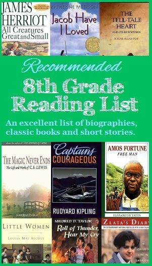 Looking for an 8th grade reading list? Here is a recommended reading list for eighth grade students including biographies, classic books and short stories that are ideal for a middle school student.