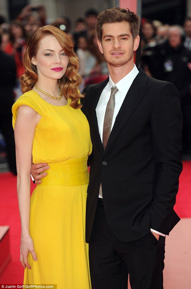 Emma Stone and Andrew Garfield. The couple met on the set of The Amazing Spiderman 1 movie in 2011
