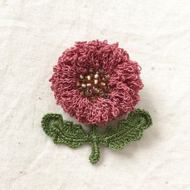 flower brooch B - モーヴピンク - yuko koike