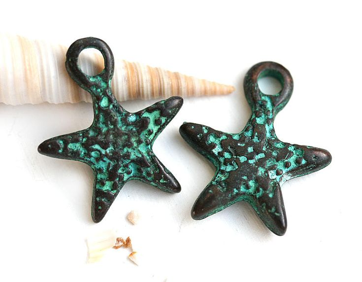 Seastar Patina charm, Verdigris patina on copper, Starfish pendant, Greek beads - 2pc - F371 by MayaHoney on Etsy