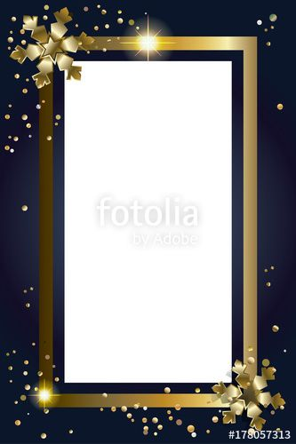Vector: Vector Christmas  and Happy New Year greeting card frame decorated with snowflakes and confetti, copy space for text. Festive luxury frame decoration.
