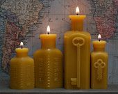 "Beeswax Candle Collection - antique bottle-shaped - ""Locked-In Lovers - Two Keys & Two Poison"" - by Pollen Arts -"