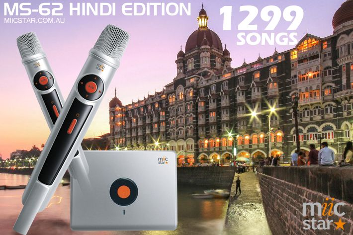 Hindi Edition Miic Star Karaoke System with 2 wireless microphones, complete with 1,299 songs