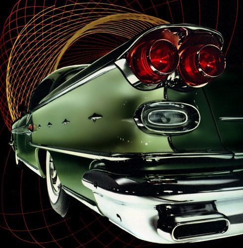 The Pontiac Bonneville had a rocket motif on the sides spitting out stylized chrome flames. The car and the print are beautiful.: