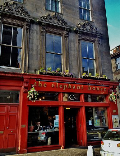 "The Elephant House in Edinburgh where J.K. Rowling wrote! I love that there's a ""Birthplace of Harry Potter"" sign. :) I'm already perusing their menu to see what I'll have, even though I've no idea when I'll go..."