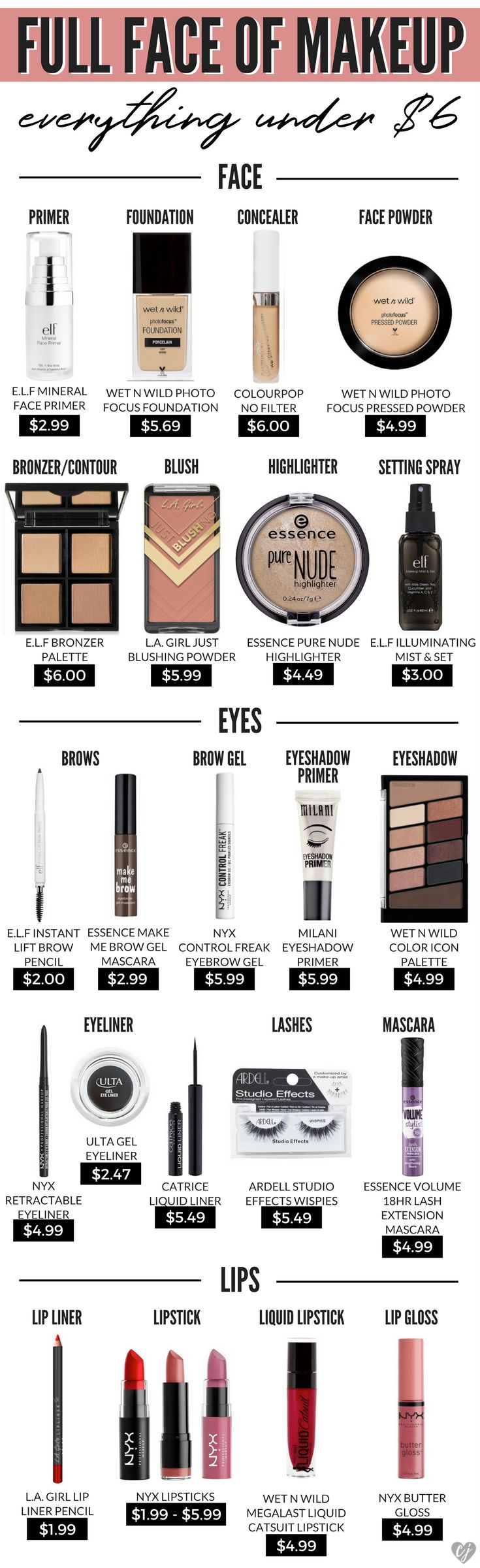 This is your complete guide to a full face of makeup with everything under $6! If you think you've found affordable makeup, wait until you try these!