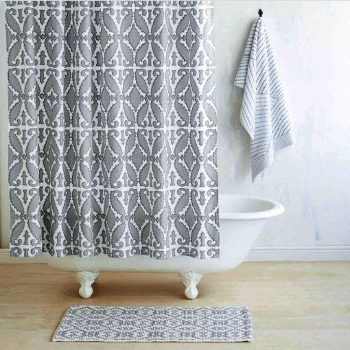 Khoma Gray Shower Curtain by John Robshaw  #towels #06880 #interiors #quilts #Figlinensandhome #pillows #figlinenswestport #luxurylinens #bedding #bedlinens