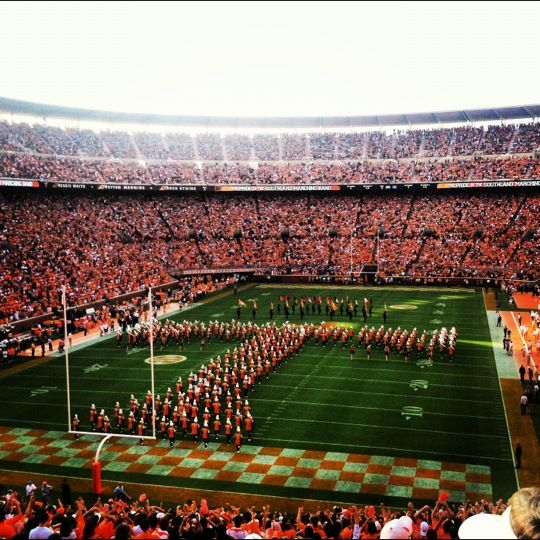 Full of tradition, the University of Tennesse is home to the fourth largest college football stadiums in the United States. A sold out game can host 102,455 football fanatics. Bring your orange and Go Vols !