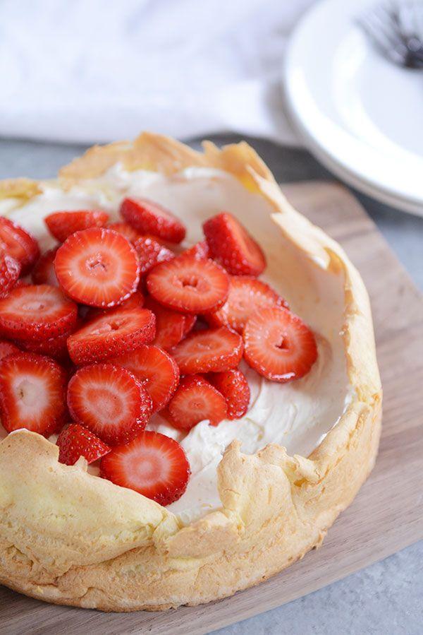 Strawberry Cream Puff Cake via Mels Kitchen Cafe.