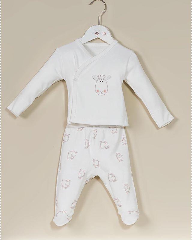 طقم من بلوزة وبنطلون برسمة الخروف مصنوعه من القطن الطبيعي اطقم Baby Onesies Clothes Rompers