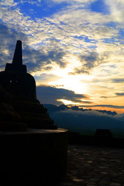Sunset on borobudur temple