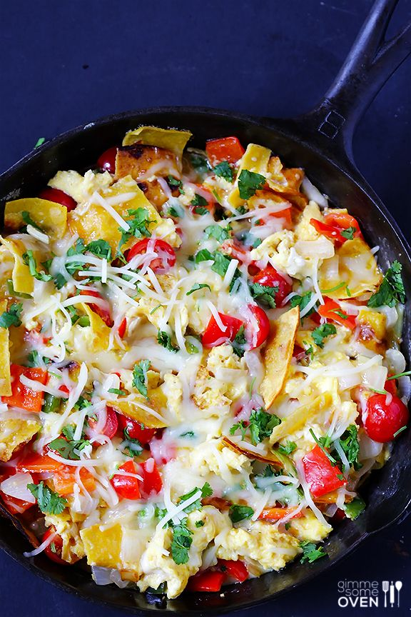 Migas! Fried corn tortillas, veggies, eggs and cheese. What could possibly be bad about this?!? MMM!