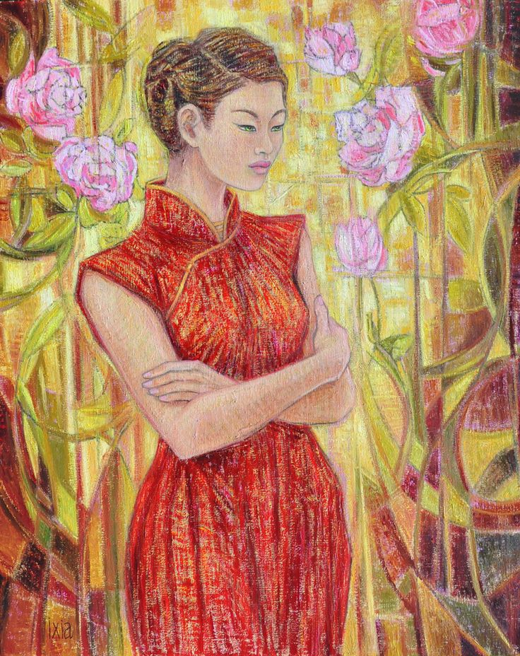 """BY IXIA """"Young Beauty with roses"""" Oil painting on canvas 65 x 81 cm #Shanghai #beauty #rose #qipao #ixia"""