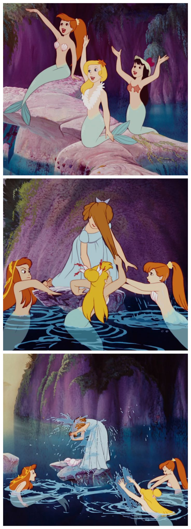 The mermaids from Peter Pan make it very clear that Wendy can't sit with them.