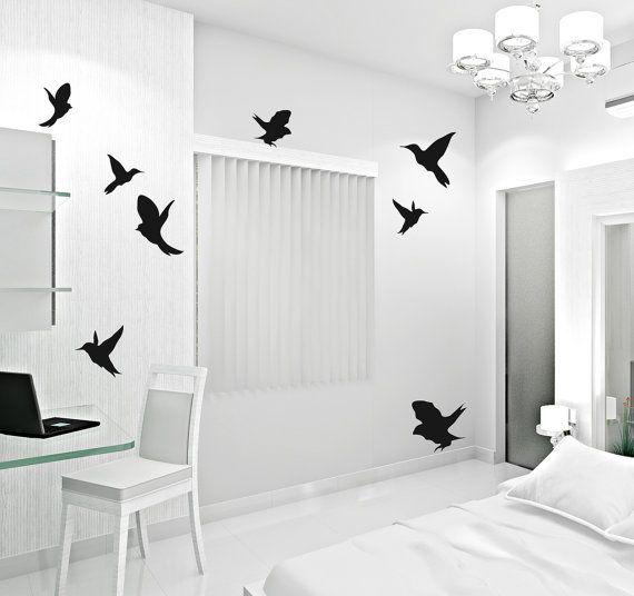 Wall decal Flaying Birds   Woodland loony bin by LoonyBinWorkshop