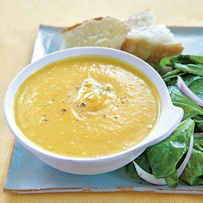 This creamy butternut squash soup recipe features pureed butternut squash, carrot and onion and showcases the rich, sweet flavor of the squash.