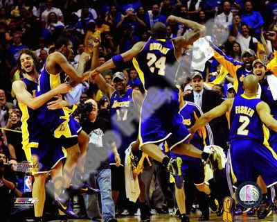 The Los Angeles Lakers celebrate Game Five of the 2009 NBA Finals